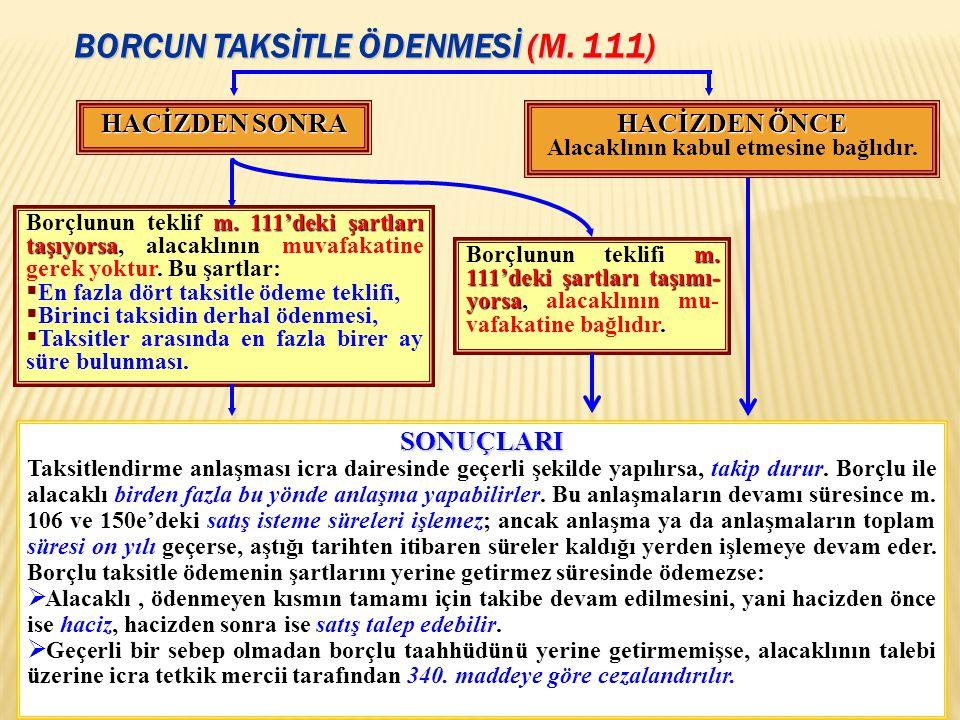 BORCUN TAKSİTLE ÖDENMESİ (M. 111) 43 HACİZDEN ÖNCE Alacaklının kabul etmesine bağlıdır. HACİZDEN SONRA m.111'deki şartları taşıyorsa Borçlunun teklif