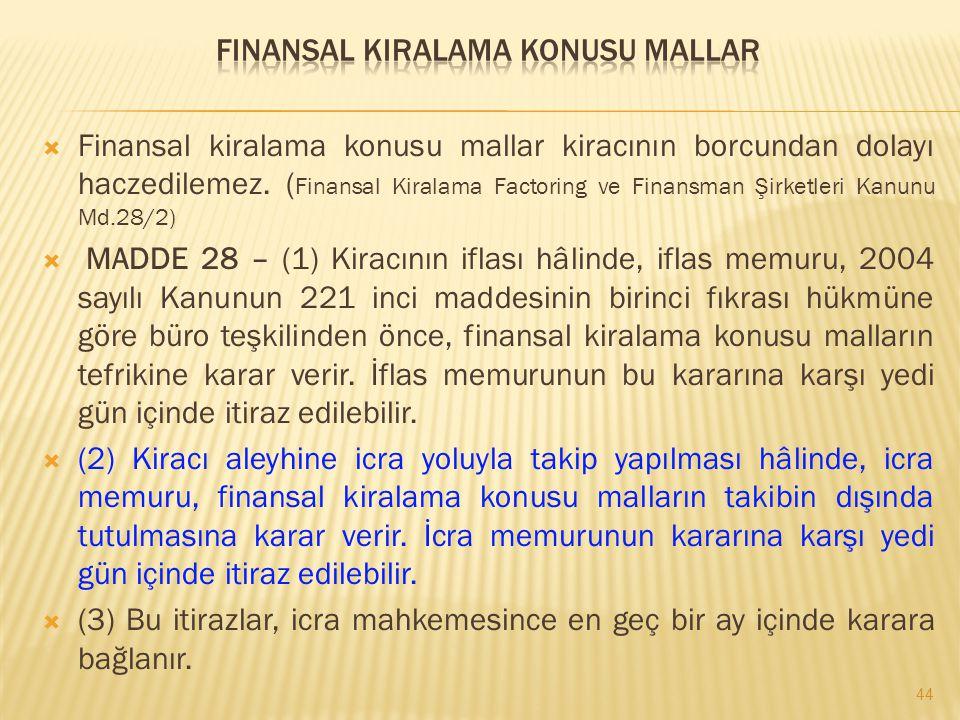  Finansal kiralama konusu mallar kiracının borcundan dolayı haczedilemez. ( Finansal Kiralama Factoring ve Finansman Şirketleri Kanunu Md.28/2)  MAD