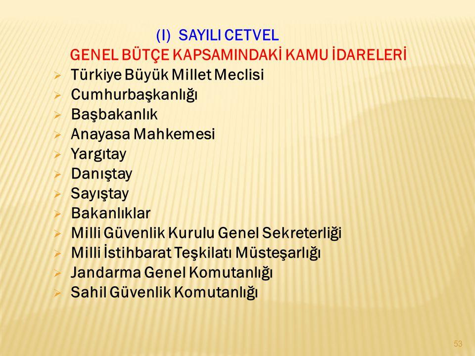 53 (I) SAYILI CETVEL GENEL BÜTÇE KAPSAMINDAKİ KAMU İDARELERİ  Türkiye Büyük Millet Meclisi  Cumhurbaşkanlığı  Başbakanlık  Anayasa Mahkemesi  Yargıtay  Danıştay  Sayıştay  Bakanlıklar  Milli Güvenlik Kurulu Genel Sekreterliği  Milli İstihbarat Teşkilatı Müsteşarlığı  Jandarma Genel Komutanlığı  Sahil Güvenlik Komutanlığı