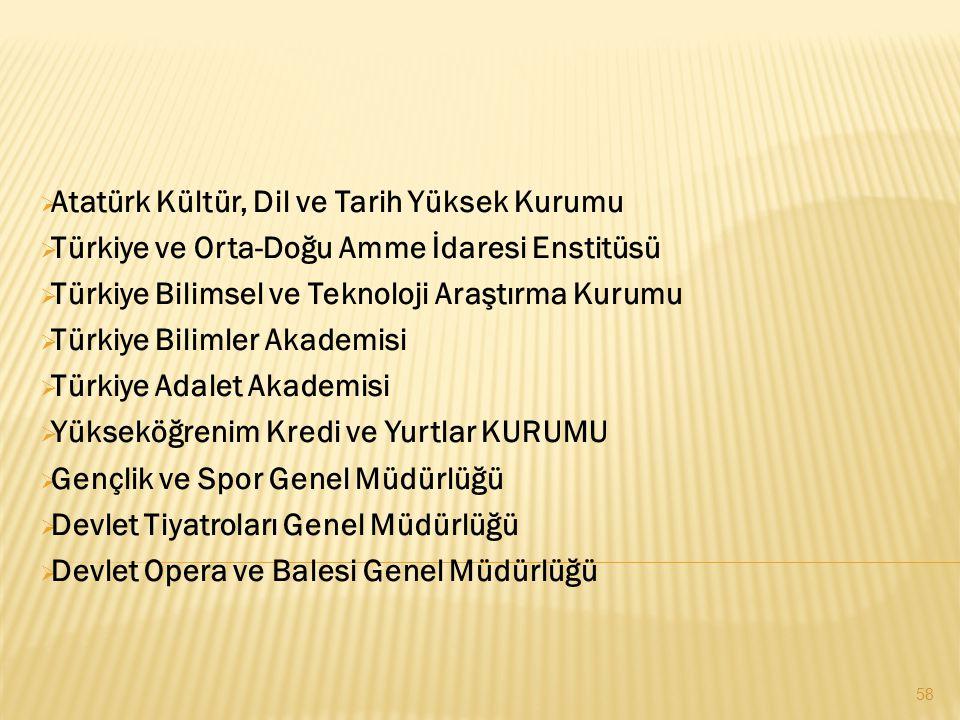  Atatürk Kültür, Dil ve Tarih Yüksek Kurumu  Türkiye ve Orta-Doğu Amme İdaresi Enstitüsü  Türkiye Bilimsel ve Teknoloji Araştırma Kurumu  Türkiye