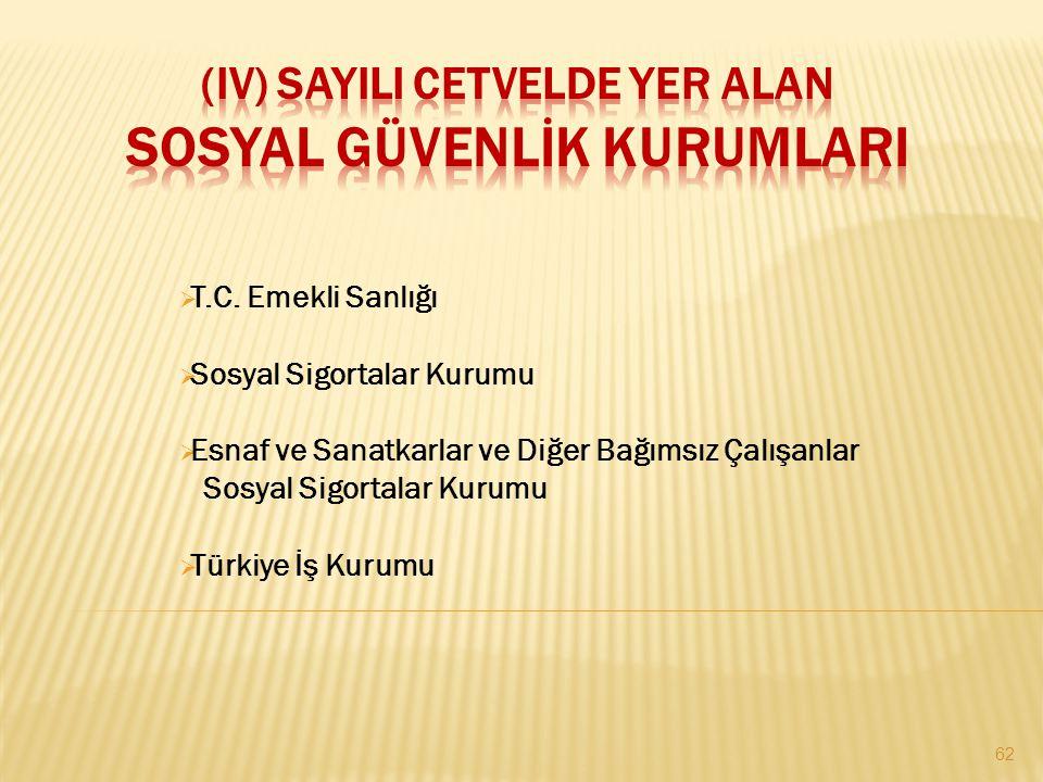  T.C. Emekli Sanlığı  Sosyal Sigortalar Kurumu  Esnaf ve Sanatkarlar ve Diğer Bağımsız Çalışanlar Sosyal Sigortalar Kurumu  Türkiye İş Kurumu 62