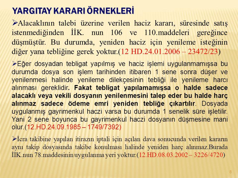 TAŞINMAZLARIN HACZİ 19 (m.91, 102/II). (m. 91/I; TMK m.1010/I, b.