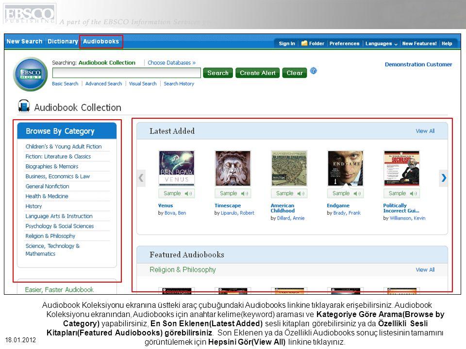 Audiobook Koleksiyonu ekranına üstteki araç çubuğundaki Audiobooks linkine tıklayarak erişebilirsiniz.