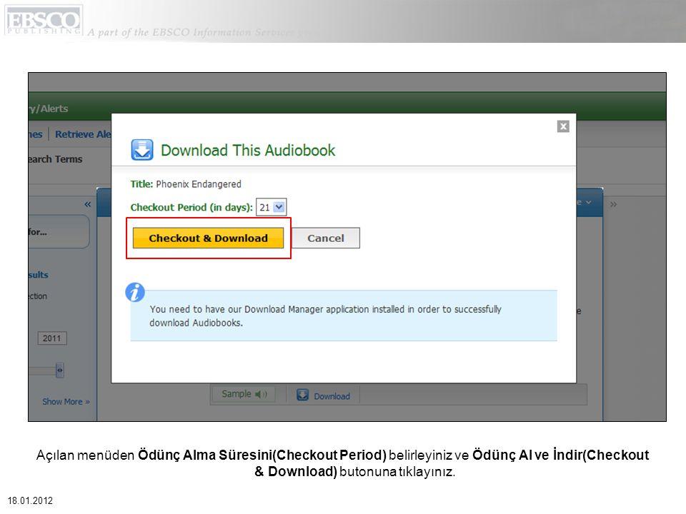 Açılan menüden Ödünç Alma Süresini(Checkout Period) belirleyiniz ve Ödünç Al ve İndir(Checkout & Download) butonuna tıklayınız.