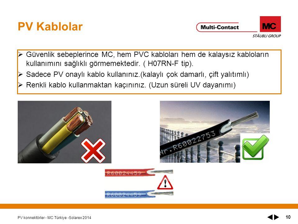 PV Kablolar  Güvenlik sebeplerince MC, hem PVC kabloları hem de kalaysız kabloların kullanımını sağlıklı görmemektedir.