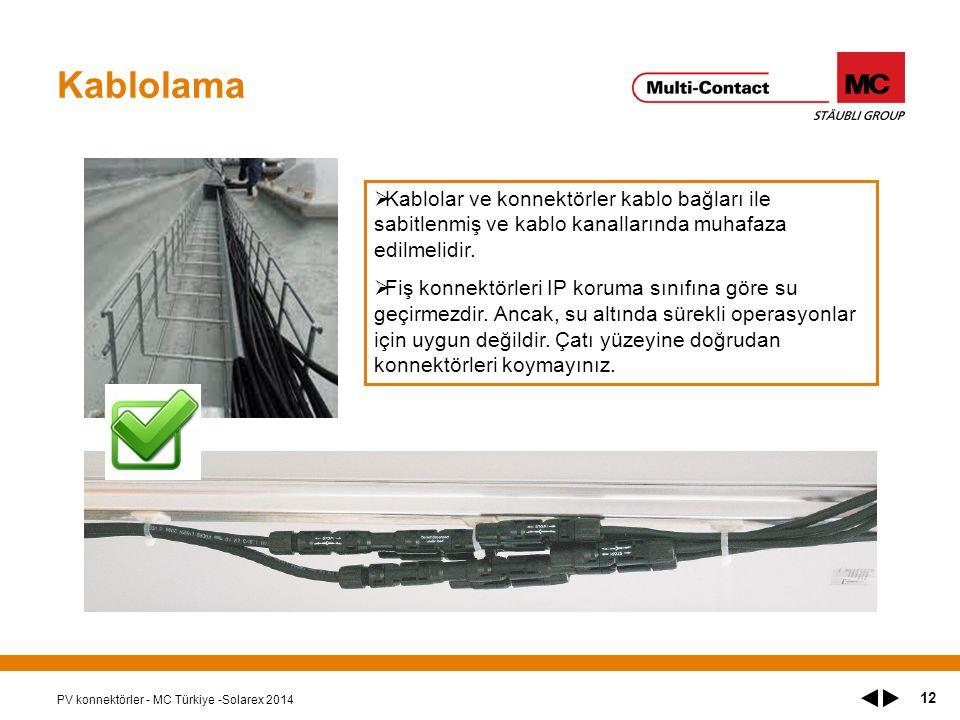 PV konnektörler - MC Türkiye -Solarex 2014 12 Kablolama  Kablolar ve konnektörler kablo bağları ile sabitlenmiş ve kablo kanallarında muhafaza edilmelidir.