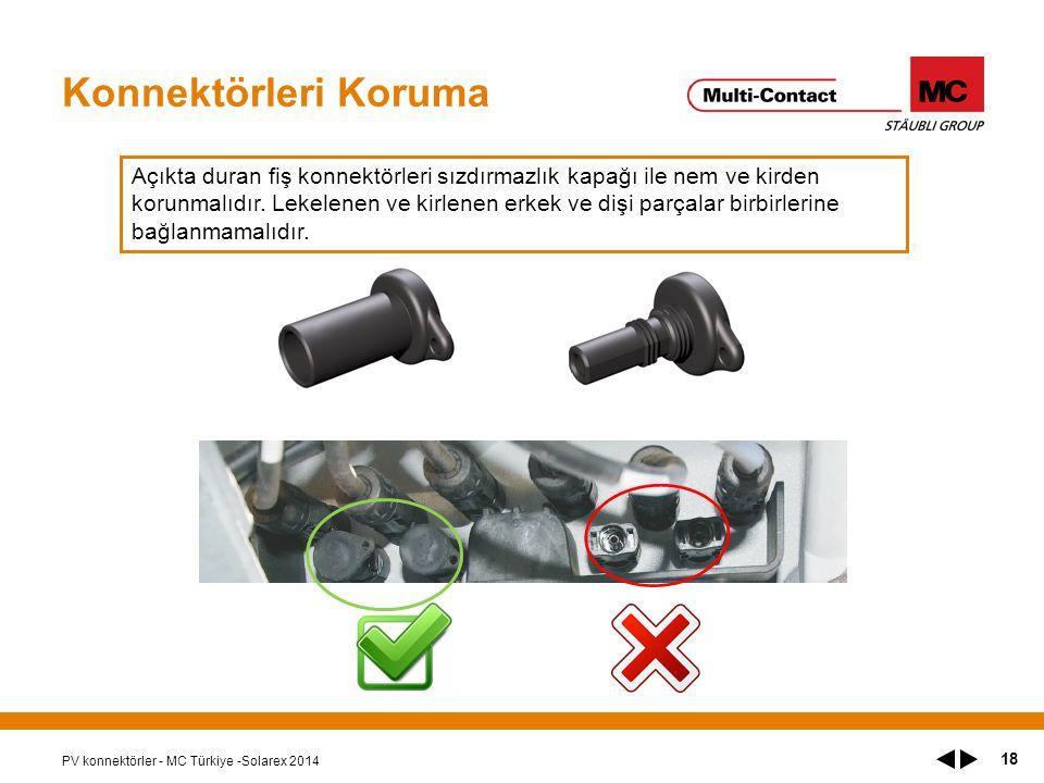 Konnektörleri Koruma PV konnektörler - MC Türkiye -Solarex 2014 18 Açıkta duran fiş konnektörleri sızdırmazlık kapağı ile nem ve kirden korunmalıdır.