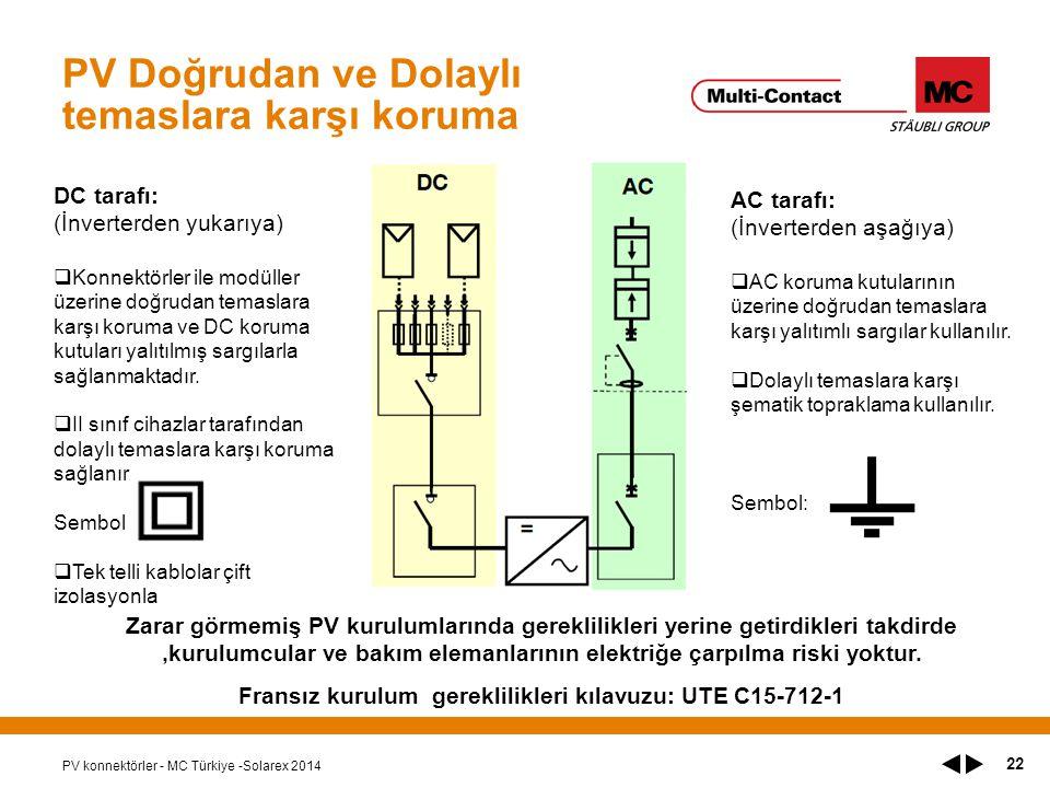 PV Doğrudan ve Dolaylı temaslara karşı koruma PV konnektörler - MC Türkiye -Solarex 2014 22 DC tarafı: (İnverterden yukarıya)  Konnektörler ile modüller üzerine doğrudan temaslara karşı koruma ve DC koruma kutuları yalıtılmış sargılarla sağlanmaktadır.