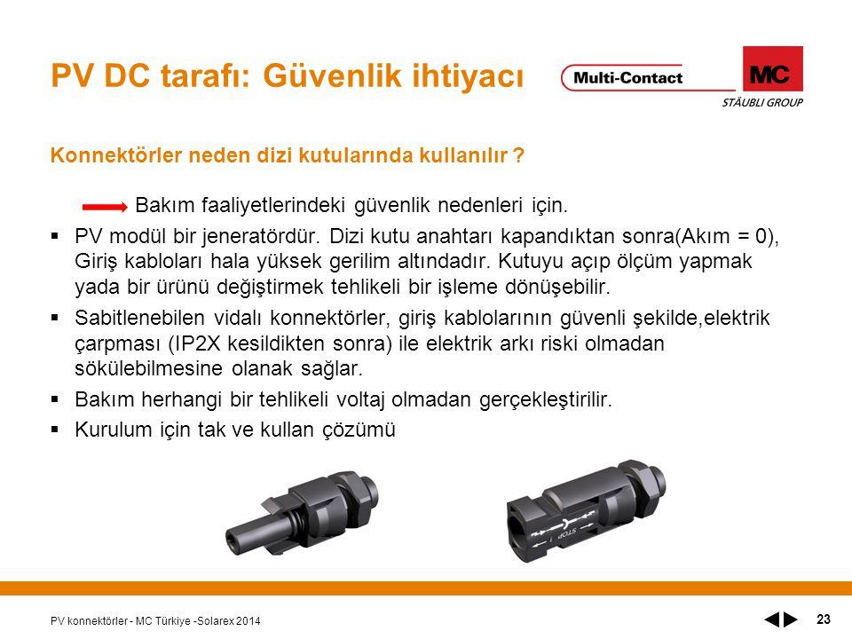 PV DC tarafı: Güvenlik ihtiyacı Konnektörler neden dizi kutularında kullanılır .