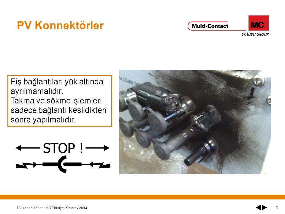 PV Konnektörler PV konnektörler - MC Türkiye -Solarex 2014 4 Fiş bağlantıları yük altında ayrılmamalıdır.