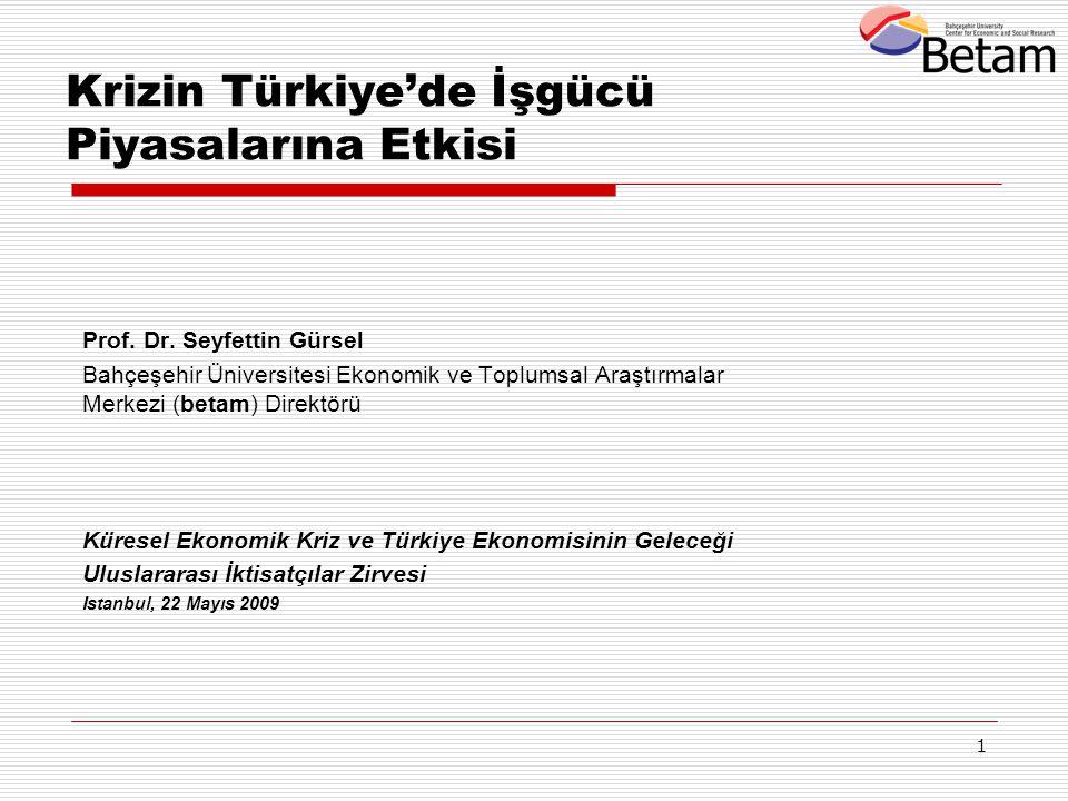 1 Krizin Türkiye'de İşgücü Piyasalarına Etkisi Prof. Dr. Seyfettin Gürsel Bahçeşehir Üniversitesi Ekonomik ve Toplumsal Araştırmalar Merkezi (betam) D