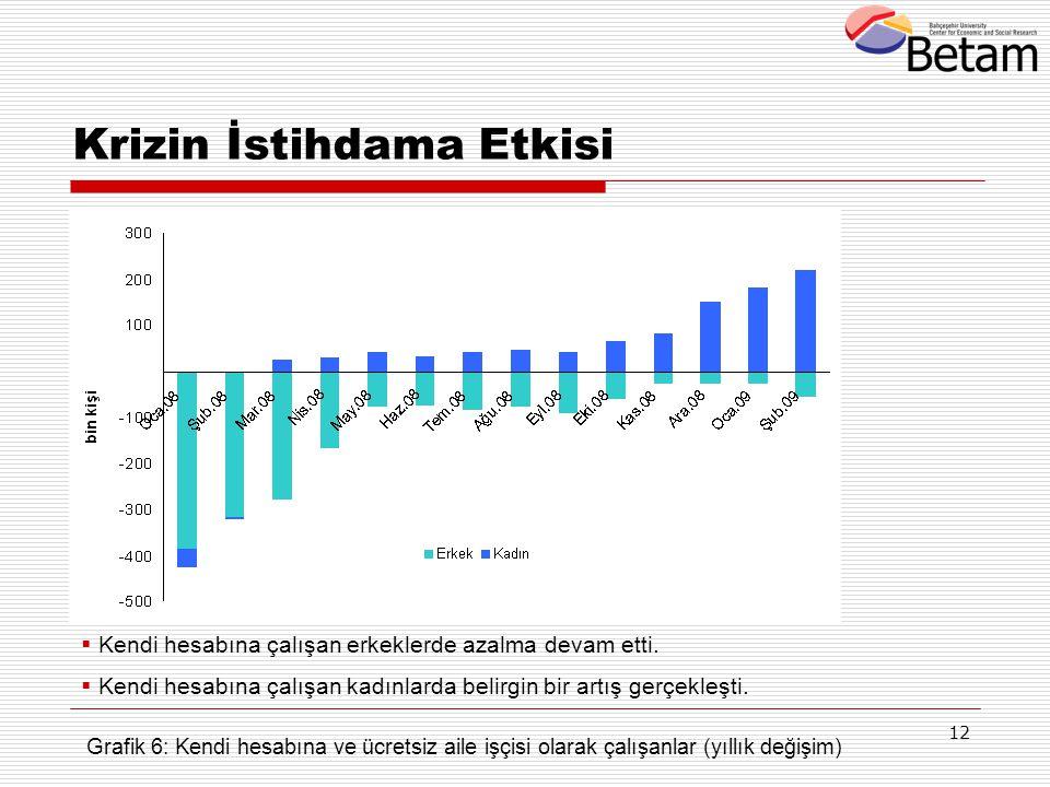 12 Grafik 6: Kendi hesabına ve ücretsiz aile işçisi olarak çalışanlar (yıllık değişim) Krizin İstihdama Etkisi  Kendi hesabına çalışan erkeklerde aza
