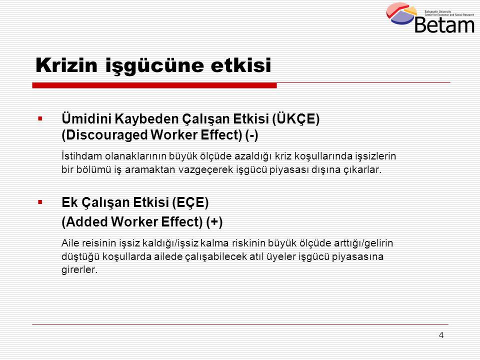 4 Krizin işgücüne etkisi  Ümidini Kaybeden Çalışan Etkisi (ÜKÇE) (Discouraged Worker Effect) (-) İstihdam olanaklarının büyük ölçüde azaldığı kriz ko