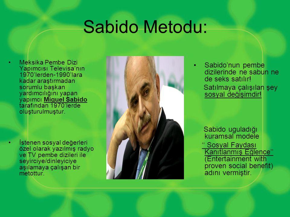 Sabido Metodu: •Meksika Pembe Dizi Yapımcısı Televisa'nın 1970'lerden-1990'lara kadar araştırmadan sorumlu başkan yardımcılığını yapan yapımcı Miguel Sabido tarafından 1970'lerde oluşturulmuştur.