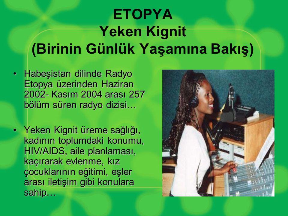 ETOPYA Yeken Kignit (Birinin Günlük Yaşamına Bakış) •Habeşistan dilinde Radyo Etopya üzerinden Haziran 2002- Kasım 2004 arası 257 bölüm süren radyo di
