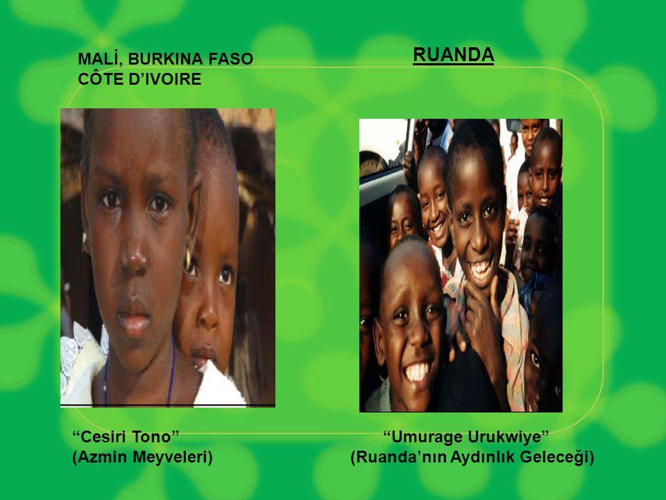RUANDA MALİ, BURKINA FASO CÔTE D'IVOIRE Cesiri Tono (Azmin Meyveleri) Umurage Urukwiye (Ruanda'nın Aydınlık Geleceği)