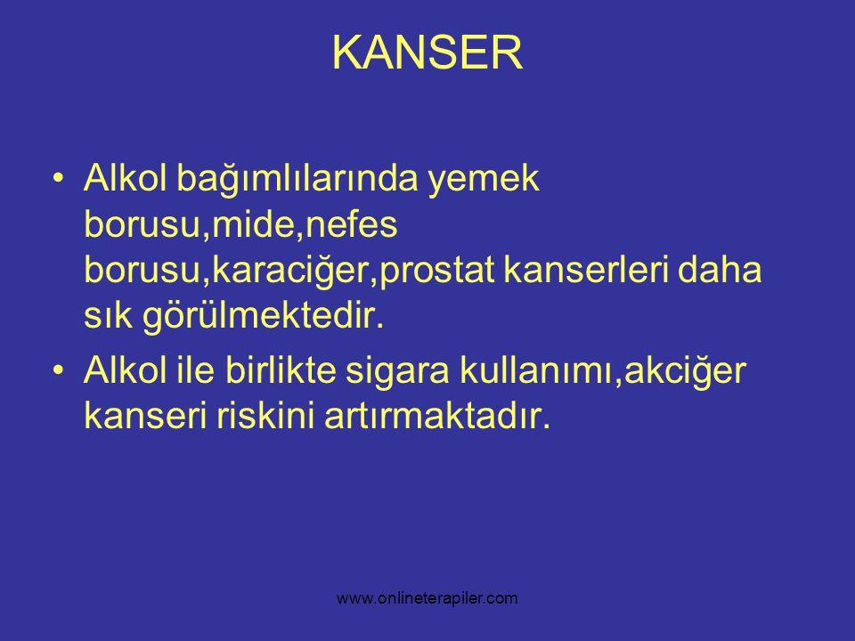 www.onlineterapiler.com KANSER •Alkol bağımlılarında yemek borusu,mide,nefes borusu,karaciğer,prostat kanserleri daha sık görülmektedir.