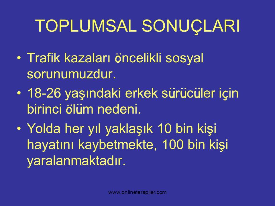 www.onlineterapiler.com TOPLUMSAL SONUÇLARI •Trafik kazaları ö ncelikli sosyal sorunumuzdur.