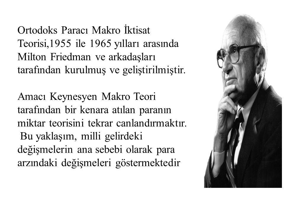 Ortodoks Paracı Makro İktisat Teorisi,1955 ile 1965 yılları arasında Milton Friedman ve arkadaşları tarafından kurulmuş ve geliştirilmiştir. Amacı Key