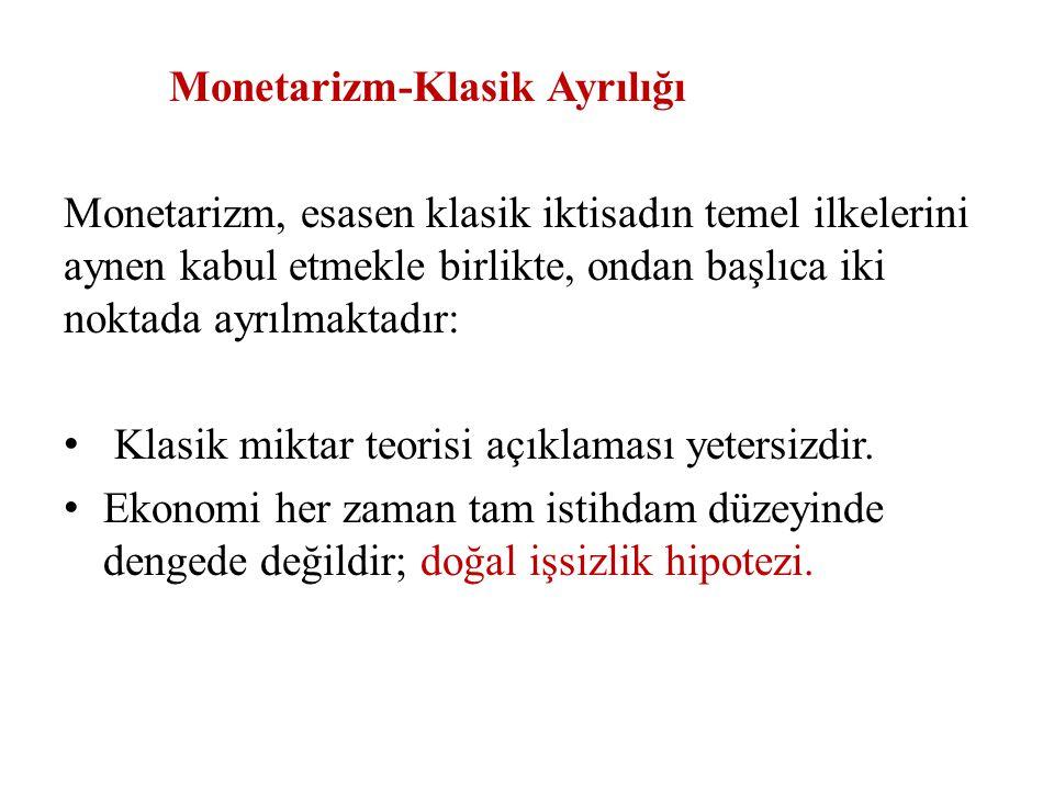 Ortodoks Monetarist makro iktisat teorisinin temel görüşleri dört başlık altında toplanabilir: 1.