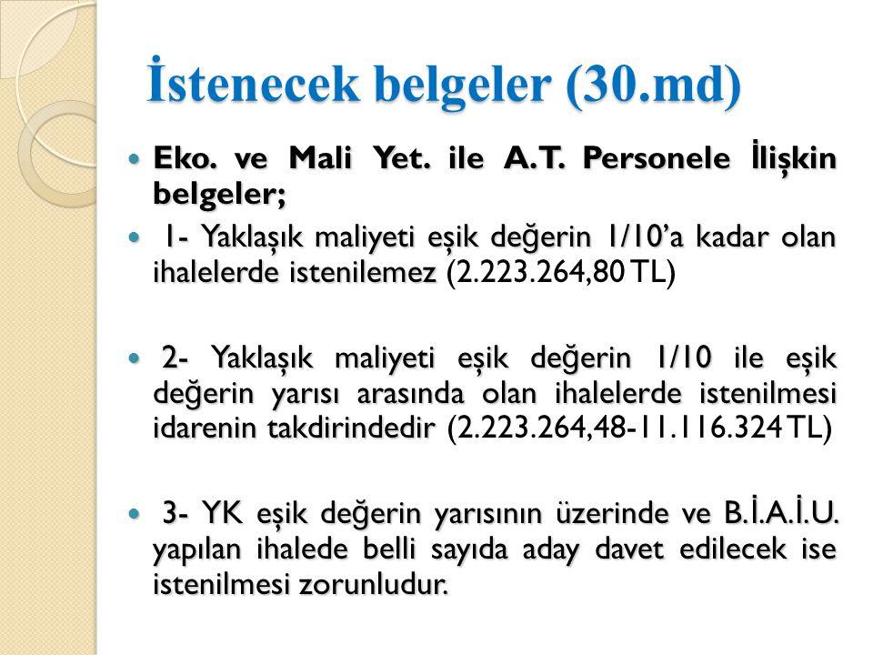 İstenecek belgeler (30.md)  Eko.ve Mali Yet. ile A.T.