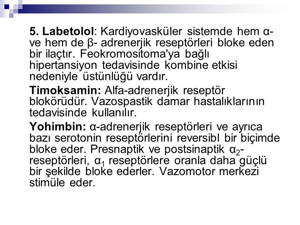 5. Labetolol: Kardiyovasküler sistemde hem α- ve hem de β- adrenerjik reseptörleri bloke eden bir ilaçtır. Feokromositoma'ya bağlı hipertansiyon tedav
