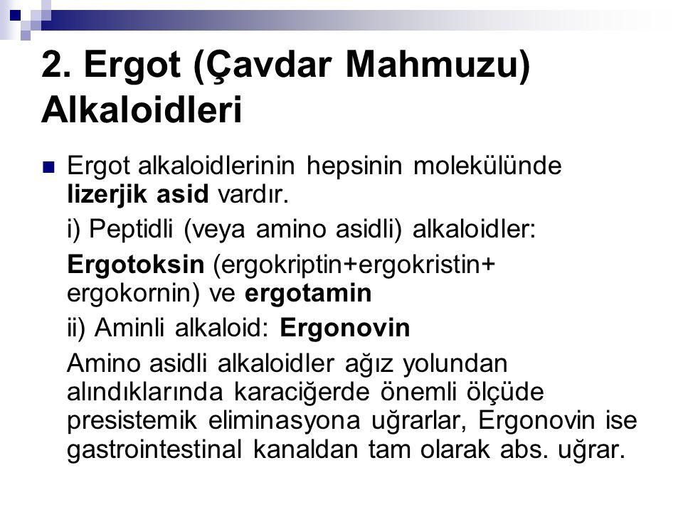 2. Ergot (Çavdar Mahmuzu) Alkaloidleri  Ergot alkaloidlerinin hepsinin molekülünde lizerjik asid vardır. i) Peptidli (veya amino asidli) alkaloidler: