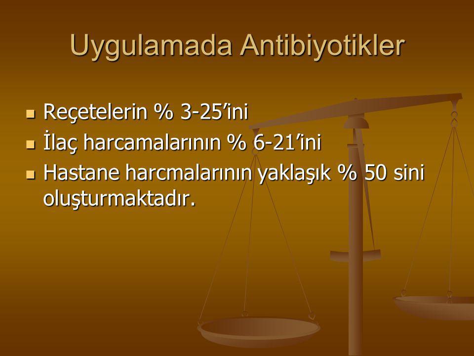 Uygulamada Antibiyotikler  Reçetelerin % 3-25'ini  İlaç harcamalarının % 6-21'ini  Hastane harcmalarının yaklaşık % 50 sini oluşturmaktadır.