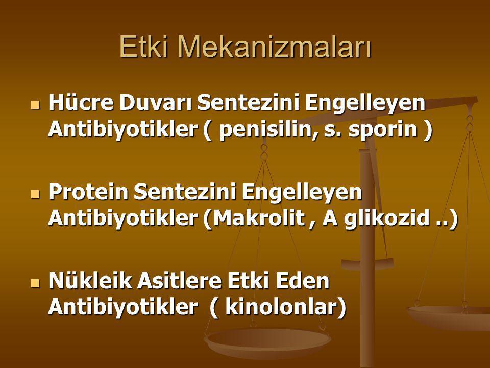 Etki Mekanizmaları  Hücre Duvarı Sentezini Engelleyen Antibiyotikler ( penisilin, s. sporin )  Protein Sentezini Engelleyen Antibiyotikler (Makrolit