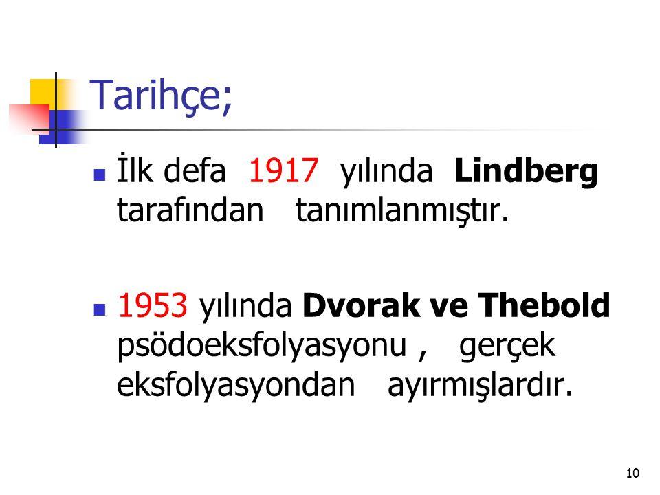 Tarihçe;  İlk defa 1917 yılında Lindberg tarafından tanımlanmıştır.  1953 yılında Dvorak ve Thebold psödoeksfolyasyonu, gerçek eksfolyasyondan ayırm