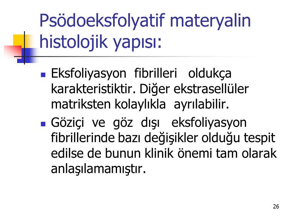 Psödoeksfolyatif materyalin histolojik yapısı:  Eksfoliyasyon fibrilleri oldukça karakteristiktir. Diğer ekstrasellüler matriksten kolaylıkla ayrılab