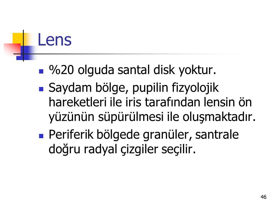 Lens  %20 olguda santal disk yoktur.  Saydam bölge, pupilin fizyolojik hareketleri ile iris tarafından lensin ön yüzünün süpürülmesi ile oluşmaktadı