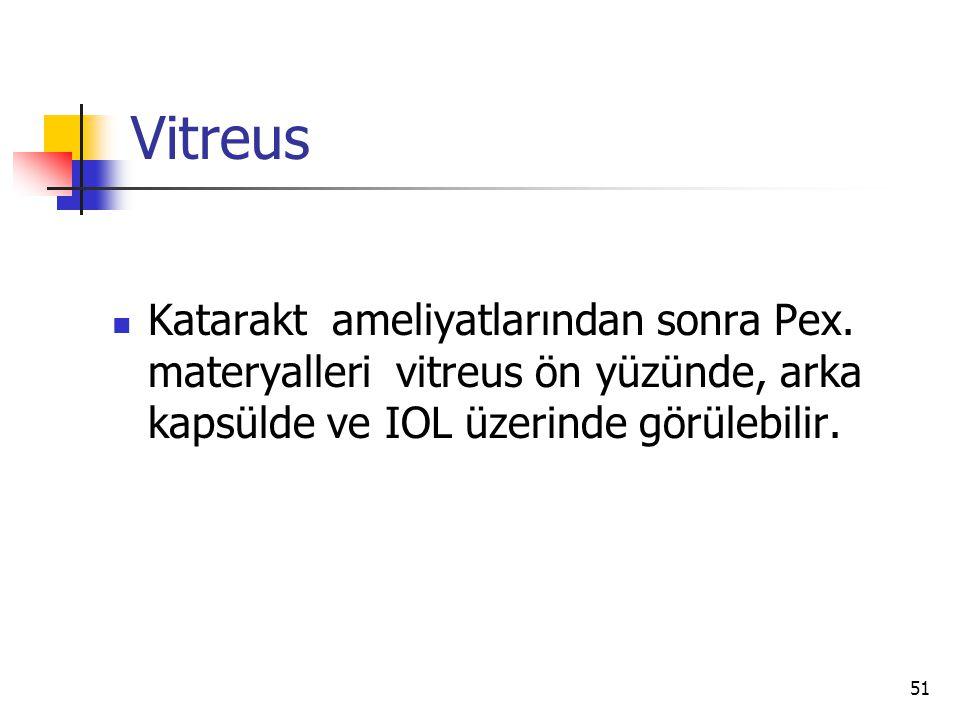 Vitreus  Katarakt ameliyatlarından sonra Pex. materyalleri vitreus ön yüzünde, arka kapsülde ve IOL üzerinde görülebilir. 51