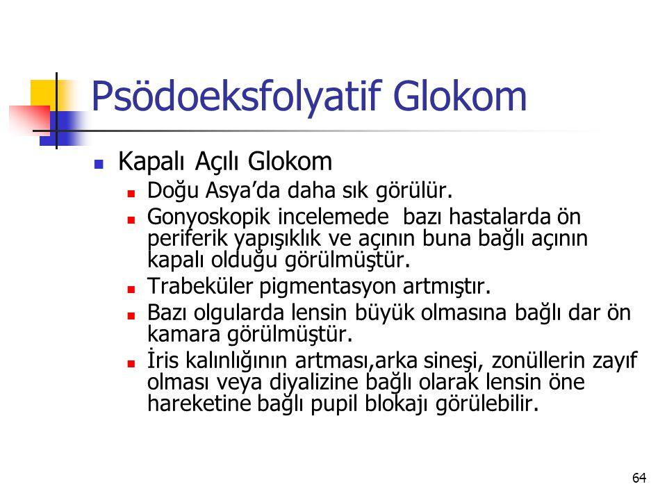Psödoeksfolyatif Glokom  Kapalı Açılı Glokom  Doğu Asya'da daha sık görülür.  Gonyoskopik incelemede bazı hastalarda ön periferik yapışıklık ve açı