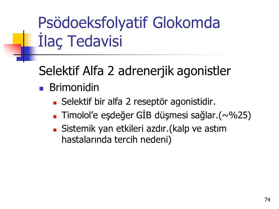 Psödoeksfolyatif Glokomda İlaç Tedavisi Selektif Alfa 2 adrenerjik agonistler  Brimonidin  Selektif bir alfa 2 reseptör agonistidir.  Timolol'e eşd