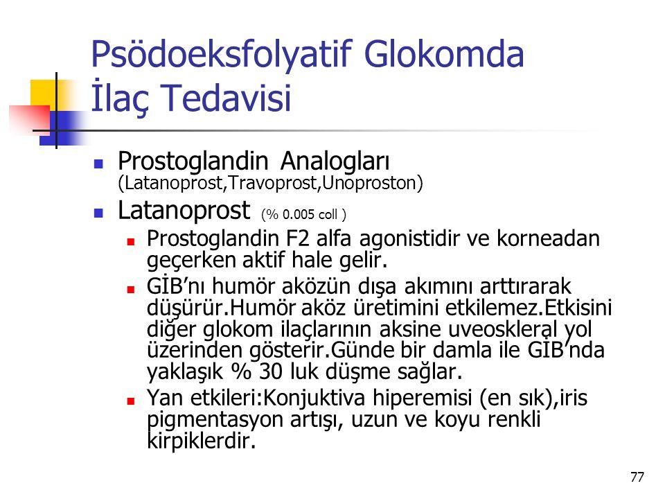 Psödoeksfolyatif Glokomda İlaç Tedavisi  Prostoglandin Analogları (Latanoprost,Travoprost,Unoproston)  Latanoprost (% 0.005 coll )  Prostoglandin F