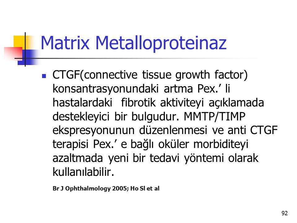 Matrix Metalloproteinaz  CTGF(connective tissue growth factor) konsantrasyonundaki artma Pex.' li hastalardaki fibrotik aktiviteyi açıklamada destekl