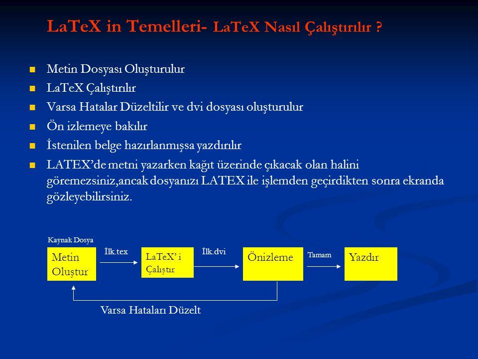 LaTeX in Temelleri- LaTeX Nasıl Çalıştırılır ?   Metin Dosyası Oluşturulur   LaTeX Çalıştırılır   Varsa Hatalar Düzeltilir ve dvi dosyası oluştu