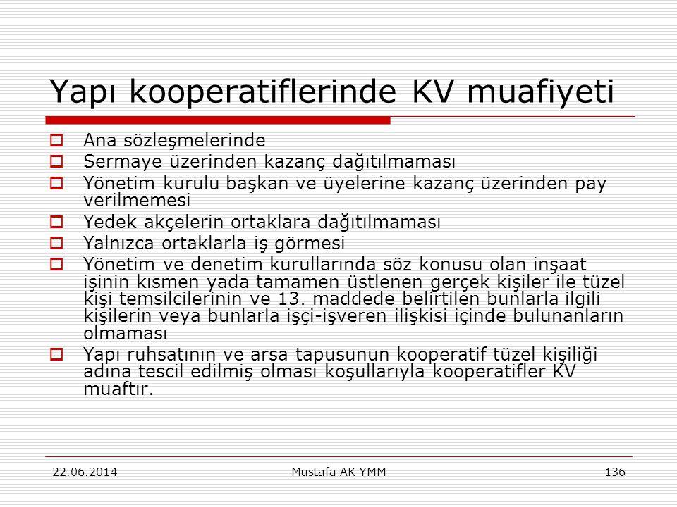 Yapı kooperatiflerinde KV muafiyeti  Ana sözleşmelerinde  Sermaye üzerinden kazanç dağıtılmaması  Yönetim kurulu başkan ve üyelerine kazanç üzerind