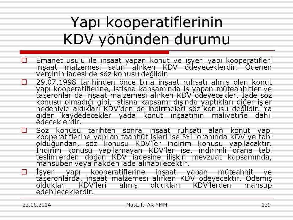 Yapı kooperatiflerinin KDV yönünden durumu  Emanet usulü ile inşaat yapan konut ve işyeri yapı kooperatifleri inşaat malzemesi satın alırken KDV ödey