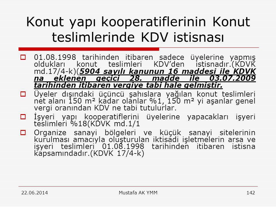 Konut yapı kooperatiflerinin Konut teslimlerinde KDV istisnası  01.08.1998 tarihinden itibaren sadece üyelerine yapmış oldukları konut teslimleri KDV