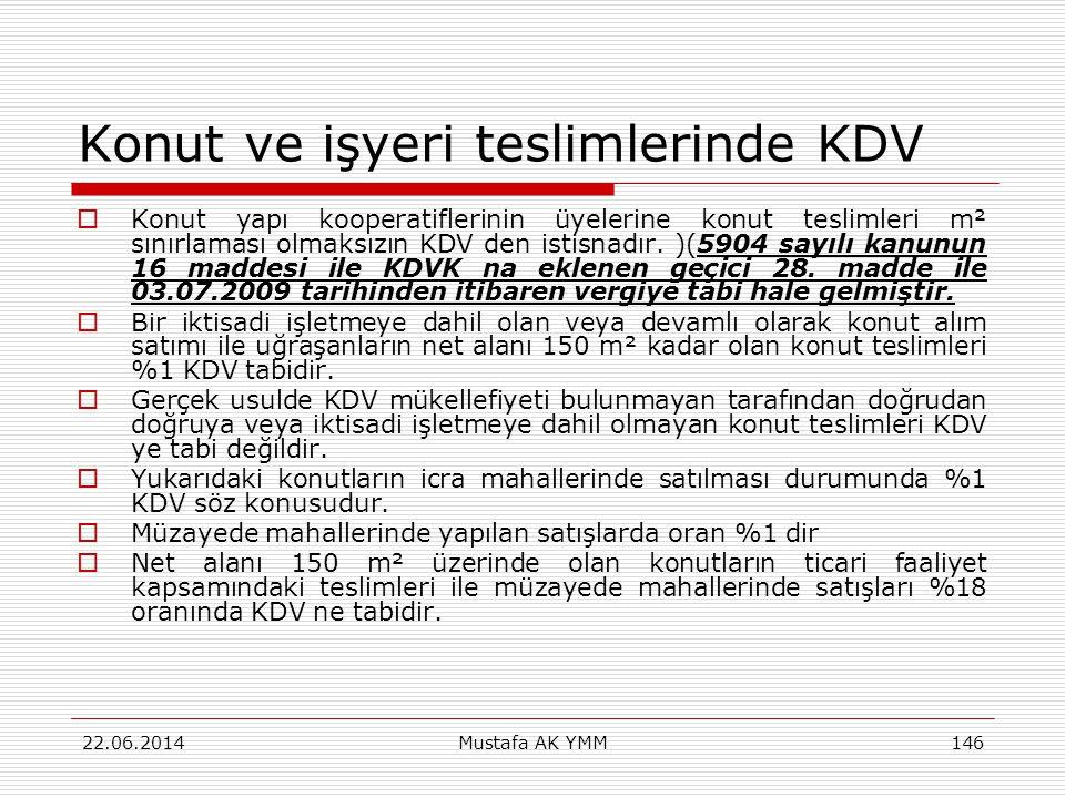 Konut ve işyeri teslimlerinde KDV  Konut yapı kooperatiflerinin üyelerine konut teslimleri m² sınırlaması olmaksızın KDV den istisnadır. )(5904 sayıl