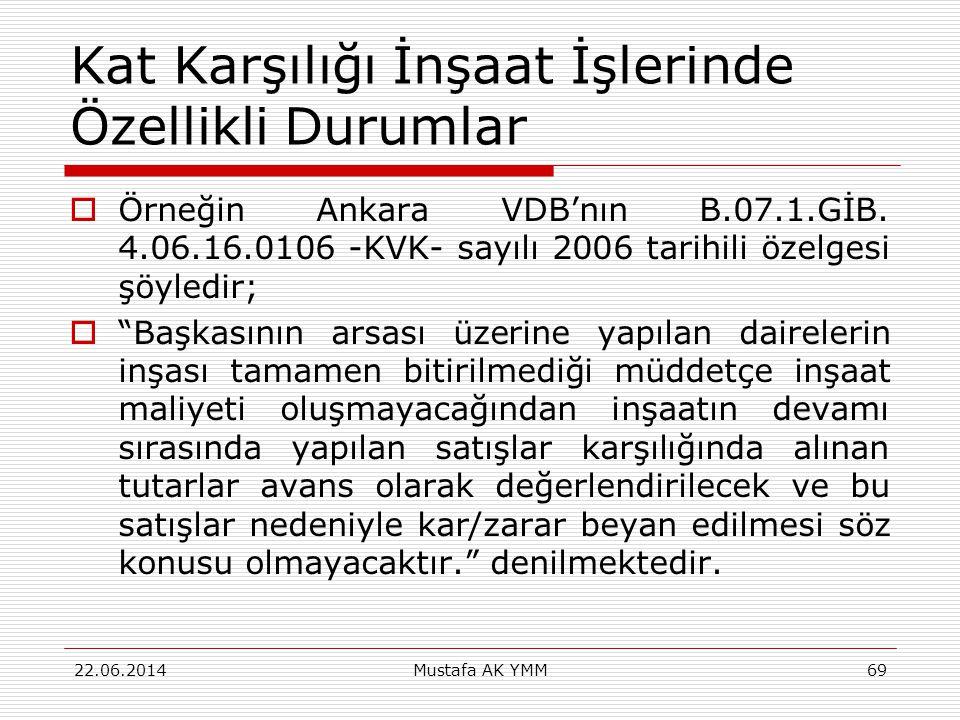 """Kat Karşılığı İnşaat İşlerinde Özellikli Durumlar  Örneğin Ankara VDB'nın B.07.1.GİB. 4.06.16.0106 -KVK- sayılı 2006 tarihili özelgesi şöyledir;  """"B"""