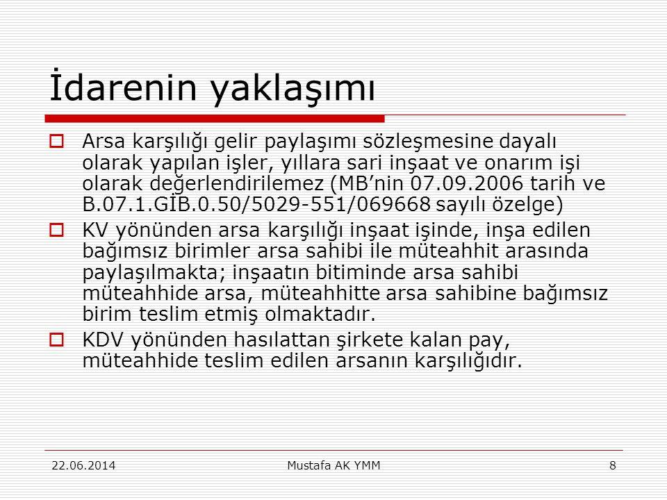 Kat Karşılığı İnşaat İşlerinde Özellikli Durumlar  Örneğin Ankara VDB'nın B.07.1.GİB.
