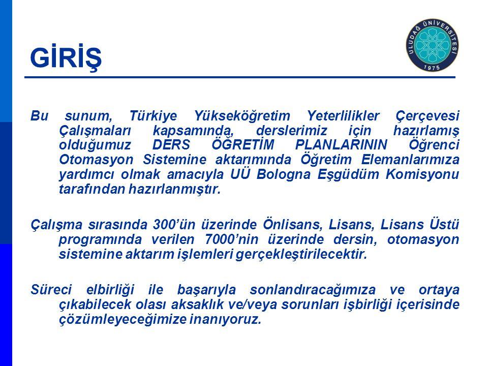 GİRİŞ Bu sunum, Türkiye Yükseköğretim Yeterlilikler Çerçevesi Çalışmaları kapsamında, derslerimiz için hazırlamış olduğumuz DERS ÖĞRETİM PLANLARININ Ö