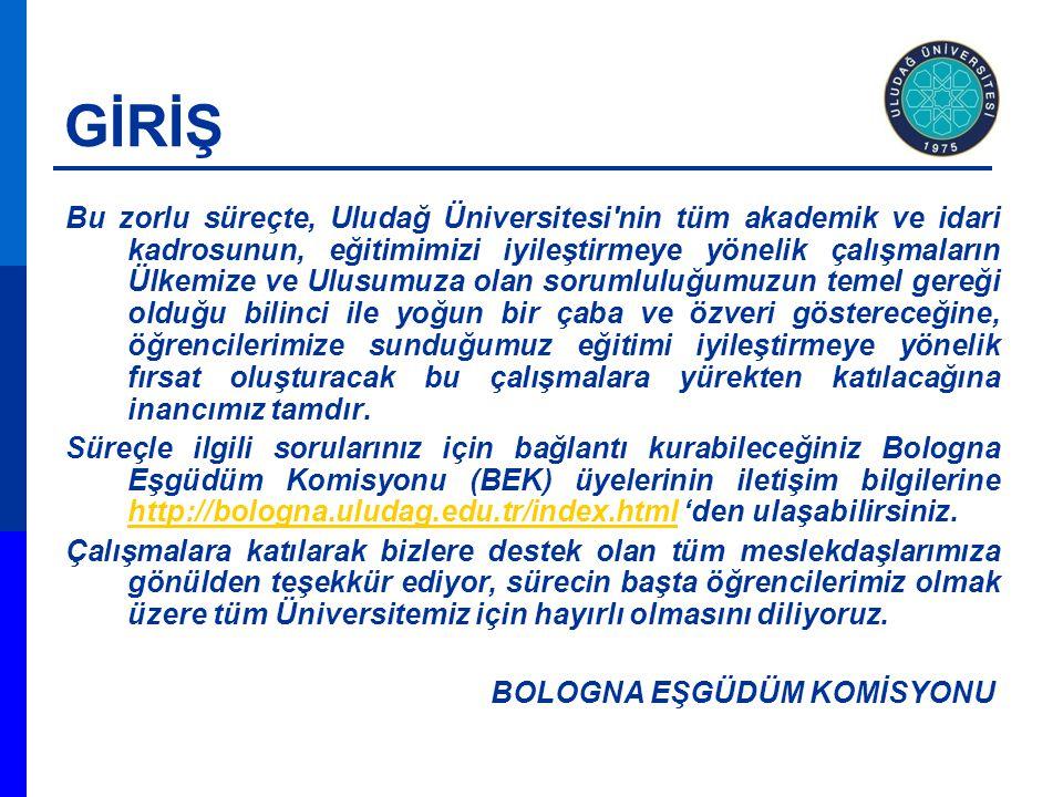 GİRİŞ Bu zorlu süreçte, Uludağ Üniversitesi'nin tüm akademik ve idari kadrosunun, eğitimimizi iyileştirmeye yönelik çalışmaların Ülkemize ve Ulusumuza
