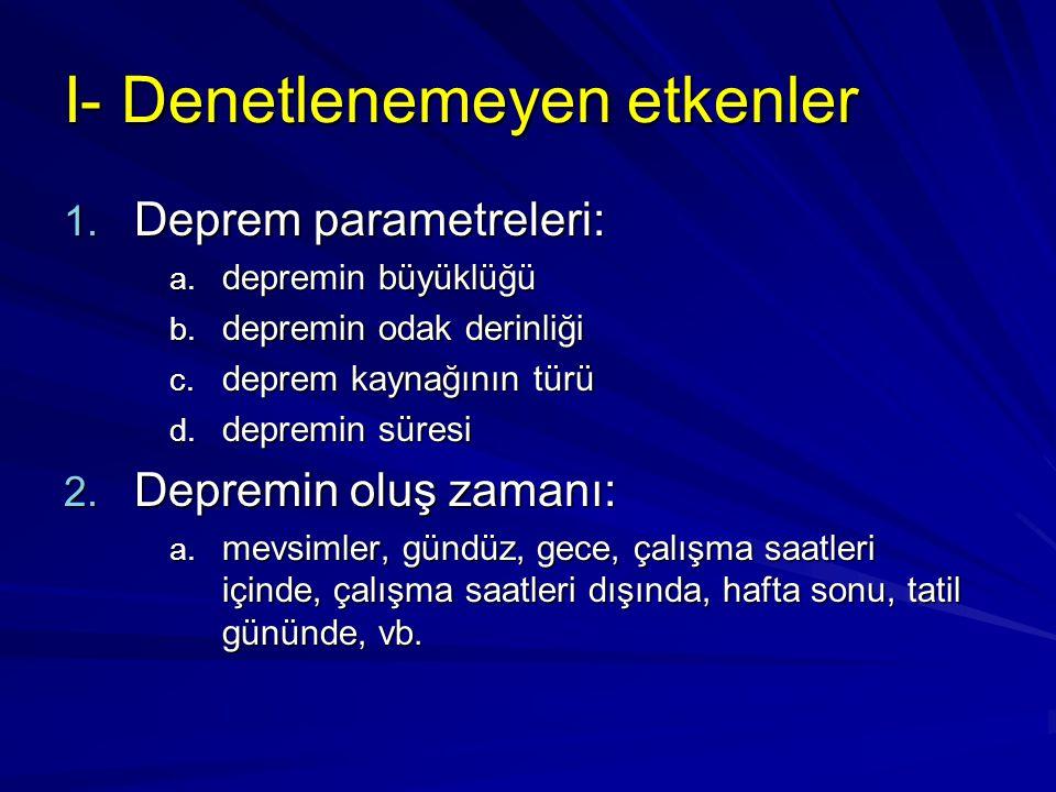 I- Denetlenemeyen etkenler 1.Deprem parametreleri: a.