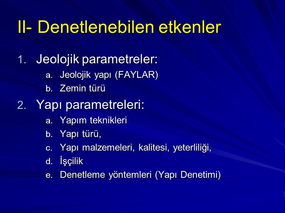 II- Denetlenebilen etkenler 1.Jeolojik parametreler: a.