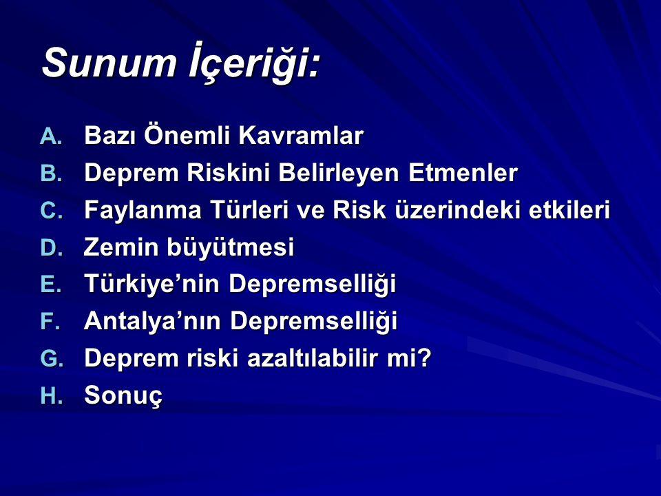 Bakanlar Kurulu'nun 18.4.1996 tarih ve 96/8109 sayılı kararı ile yürürlüğe giren Deprem Bölgeleri Haritasına göre, Antalya il merkezi, Elmalı, Korkuteli, Serik, ve Manavgat ilçeleri 2.