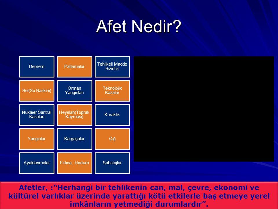 Türkiye ve Afetler Kaynak: Gökçe O., Özden Ş., Demir A., Türkiye'de Afetlerin Mekansal ve İstatistiksel Dağılımı, Afet Bilgileri Envanteri, 2008.